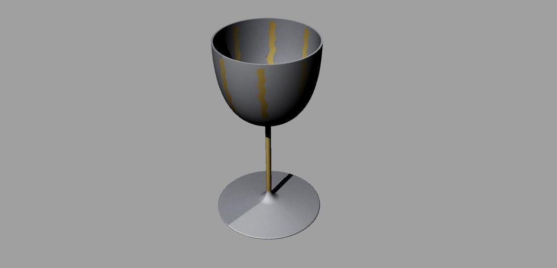 calice in argento con striature di oro