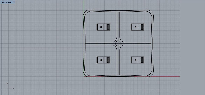 espositore cellulari 3D-vista superiore wireframe