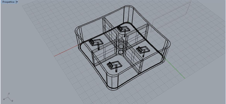 espositore cellulari 3D-vista prospettica wireframe