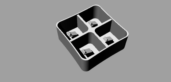 espositore cellulari 3D-vista prospettica render senza texture wireframe